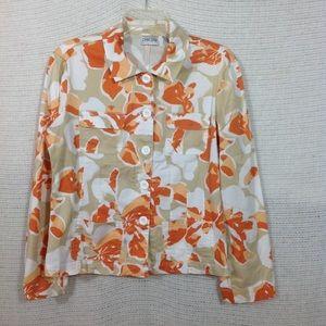 Chico's Button Down Stretch Jacket Orange